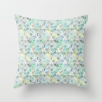 Floral Elegant Tribal Pattern (Lime Mint Dark Greens) Throw Pillow by AEJ Design