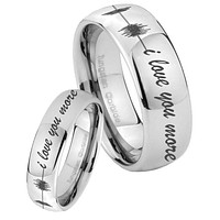 His and Hers Sound Wave, I love you more Mirror Dome Tungsten Men's Ring Set