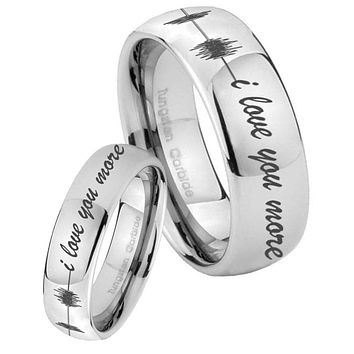 His Her Classic Mirror Dome Sound Wave i love you more more Tungsten Carbide Silver Rings Set