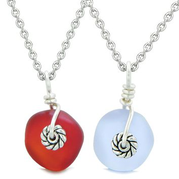 Twisted Twincies Cute Small Sea Glass Lucky Charm Love Couples BFF Set Pastel Purple Cherry Red Necklaces