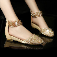 Women Genuine Leather Pearl Rhinestone Beading Flats Summer Sandals Lady Fashion Casual Close Toe Back Zip Shoes