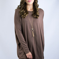 Long Sleeve Piko Dress in Brown