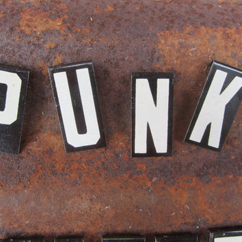 Vintage Metal Letter Sign PUNK Sign Word Sign VTG Black White Hanging Banner On String Banner Sign Humor Inspiration Gift Idea Office Desk