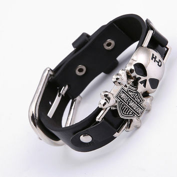 Rider Harley Motor Cycles Punk Skull Rivet Men Bracelets Wide Leather
