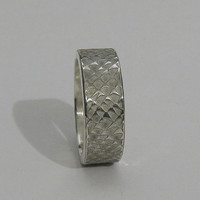 Rustic mens wedding band/14k white gold unique textured custom unisex wide engagement band or commitment ring