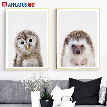 AFFLATUS Owl Hedgehog Wall Art Canvas Painting Nordic Posters And Prints Animal Pop Art Wall Pictures For Living Room Home Decor