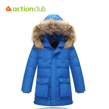 Actionclub Children Winter Jacket Duck Down Longer Thicker Boys Girls Coat Kids Winter Down Jacket Warm Hooded Clothes Outerwear