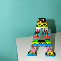 Neon hand-painted tribal pattern letter, A