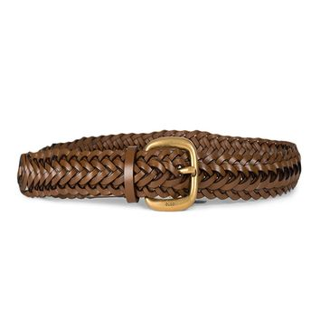 Gucci Women's Braided Leather Gold Buckle Belt 380606 Brown