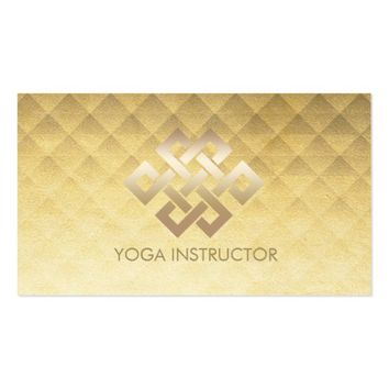 Yoga Instructor Gold Eternity Knot Gold Diamond Business Card