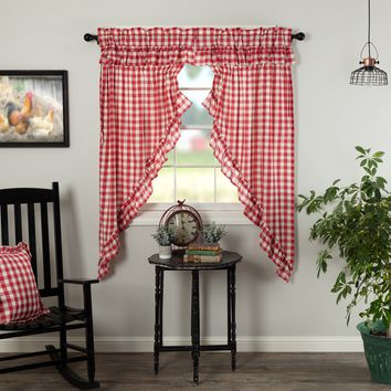 Annie Red Buffalo Check Ruffled Prairie Curtains