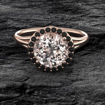Antique Style Diamond Morganite Engagement Ring in 14k Rose Gold Round Black Diamonds Halo
