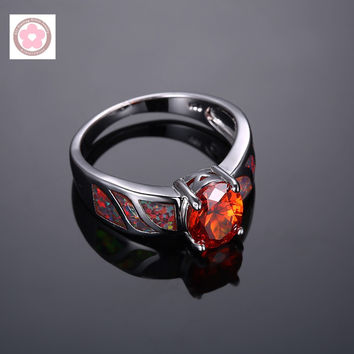 Platinum Plated AAA Red Crystal And Fire Opal  Women Wedding Ring
