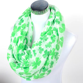 Free shipping ladies' lucky Clover Shamrock loop scarf green Women's Infinity Scarf Saint Patrick's Day  festival Ireland Gift