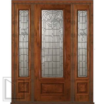 Prehung Side lights Door 96 Wood Alder Palacio 1 Panel 3/4 Lite Glass