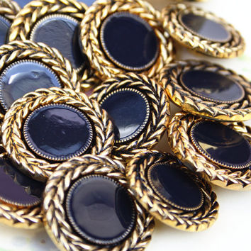 Plastic Buttons, Vintage Buttons, Craft Supply, Sewing Supplies, Matching Set, Haberdashery, Navy Blue Buttons, Gold Tone - 1980's / 1990's