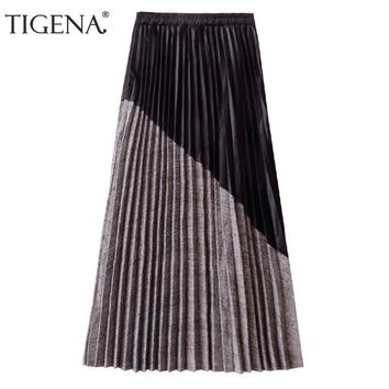 TIGENA New Arrivals Patchwork Suede Pleated Skirts Women Winter High Waist Vintage Plaid Long Maxi Skirt Female