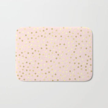 Blush Pink Shower Mat, Gold Polka Dot Bath Mat, Light Pink Shower Mat, Pink Bathroom Mat, Modern Bath Mat, Pink Bath Decor, Pink Shower Rug