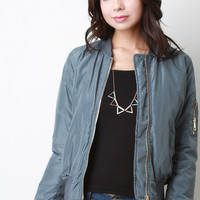 Zipped Up Bomber Puffer Jacket