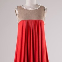 Deep Coral Color Block Sleeveless Top