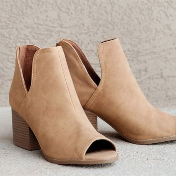 Side Slit Booties in Camel