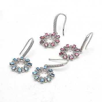 Rhodium Plated Dangle Earring, with Swarovski Crystals and Crystal, Rhodium Tone