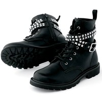 Buckle and Stud Strap Combat Boot | Gotta Flurt