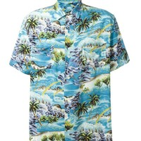 Indie Designs Saint Laurent Inspired Surf Print Short Sleeve Hawaiian Shirt
