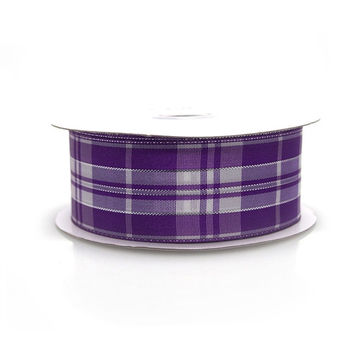 Plaid Checkered Metallic Wired Ribbon, 1-1/2-inch, 10-yard, Purple