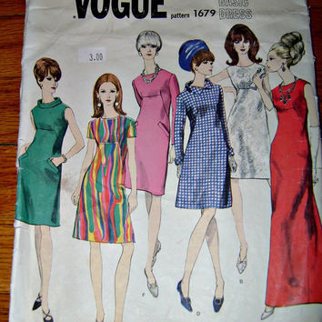 60's VOGUE MOD Dress Pattern 1679 Vintage Vogue's Basic Dress A-Line Sixties Dresses Sewing Pattern Instructions Versatile Dress