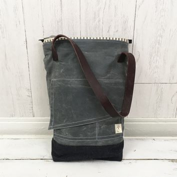 The Tracy Tote - Handmade, Waxed Canvas, Denim & Leather Bucket Tote