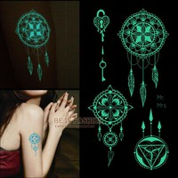 one piece shiny luminous temporary tattoos stickers glow in the dark Fluorescent waterproof glitter bright flash tattoos for arm