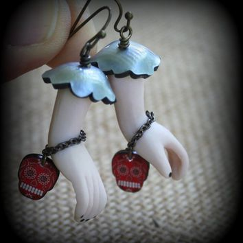 Porcelain Earrings - Porcelain Hand Earrings - Day of the Dead Earrings - Doll Hand Earrings - Dia do los Muertos - Unusual Earrings