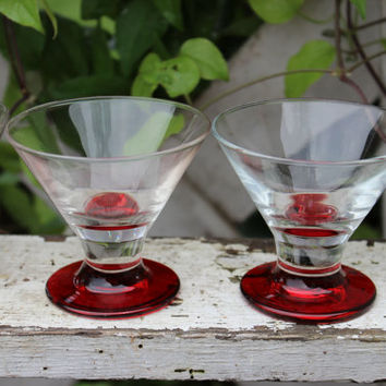 5 Retro red Libbey shot glasses, MOD art deco liquor cordials, vintage whiskey shooters, jello shot glasses, MOD bar glasses, 2 ounce glass
