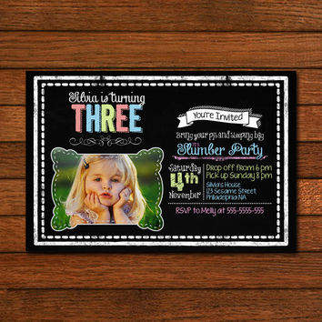 Chalboard Slumber Party Design Photo Include Invitation