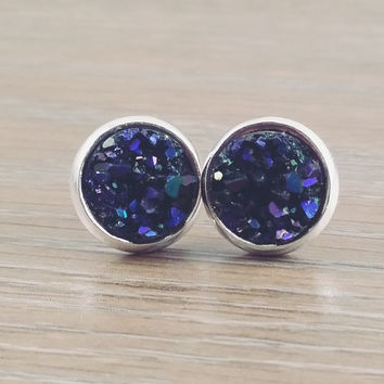 Small Druzy earrings- Midnight blue purple drusy silver tone stud druzy earrings