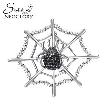 Neoglory Stylish Black Czech Rhinestone Brooch Platinum Plated Spider Pattern Exaggerated Style Statement Jewelry For Party 2016