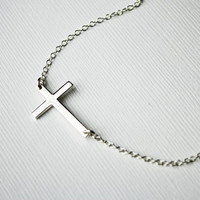 Off-Centered Sideways Cross Necklace- Sterling Silver
