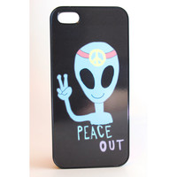 Peace Out Alien Black Phone Case