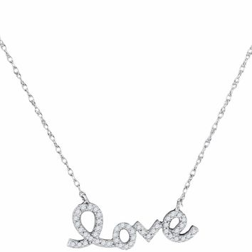 10kt White Gold Womens Round Diamond Love Pendant Necklace 1-6 Cttw