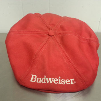 Vintage Budweiser Delivery Boy Newsboy Cap Hat Red Snapback 50's 60's