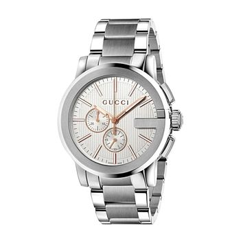 Gucci G-Chrono XL Stainless Steel Guilloché Dial Mens Swiss Watch