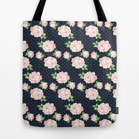 Blue and Pink Vintage Rose Pattern Tote Bag by heartlocked