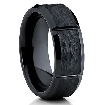 Ceramic Wedding Band - Black Ceramic Ring - Hammered - Men's Wedding Band