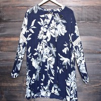 floral oversize boho tunic dress with lace inset - navy