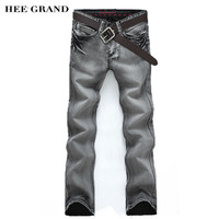 HEE GRAND 2017 New Arrival Fashion Men's Jeans Slim Water-washed Straight