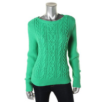 LRL Lauren Jeans Co. Womens Cable Knit Long Sleeves Pullover Sweater
