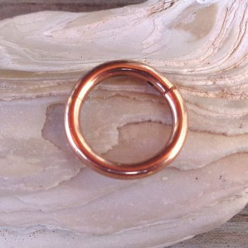 Hinged Segment Ring,Seamless,Endless Septum Ring,Tragus Piercing Jewelry,Helix,Cartilage,Scaffold,Upper Ear,Segment Ring,Lip Ring,Nipple Ring,Endless Hoop Earring Color Rose Gold.14 Gauge(1.6mm).Diameter:8mm