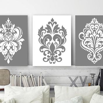GRAY Bedroom Wall Decor, CANVAS or Prints, White Gray Bathroom Decor, Damask Design Artwork, Gray Home Decor, Wall Hanging, Set of 3 Decor