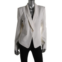 BCBG Max Azria Womens Textured Long Sleeves One-Button Suit Jacket
